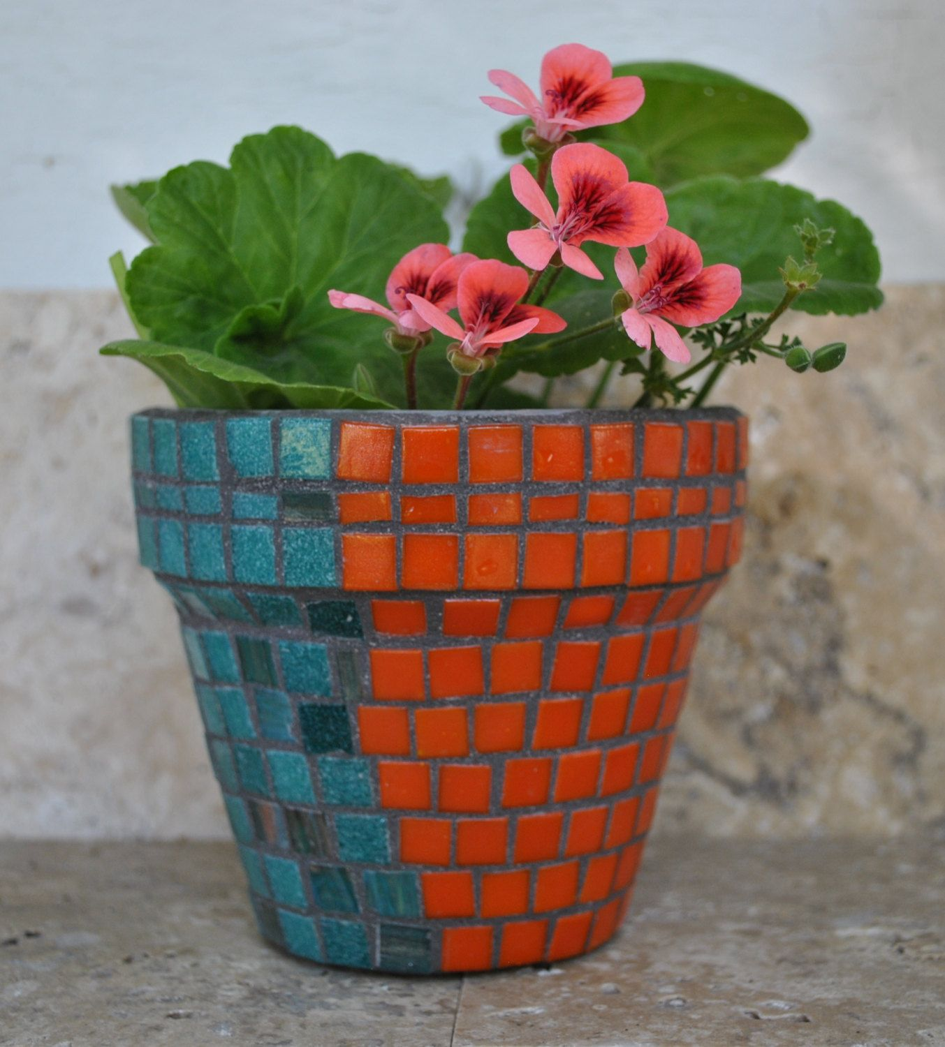 Tile Mosaic Planter Pot Succulents 4 Flower Pot Custom Colors With Images Mosaic Planters Mosaic Flower Pots Flower Pots