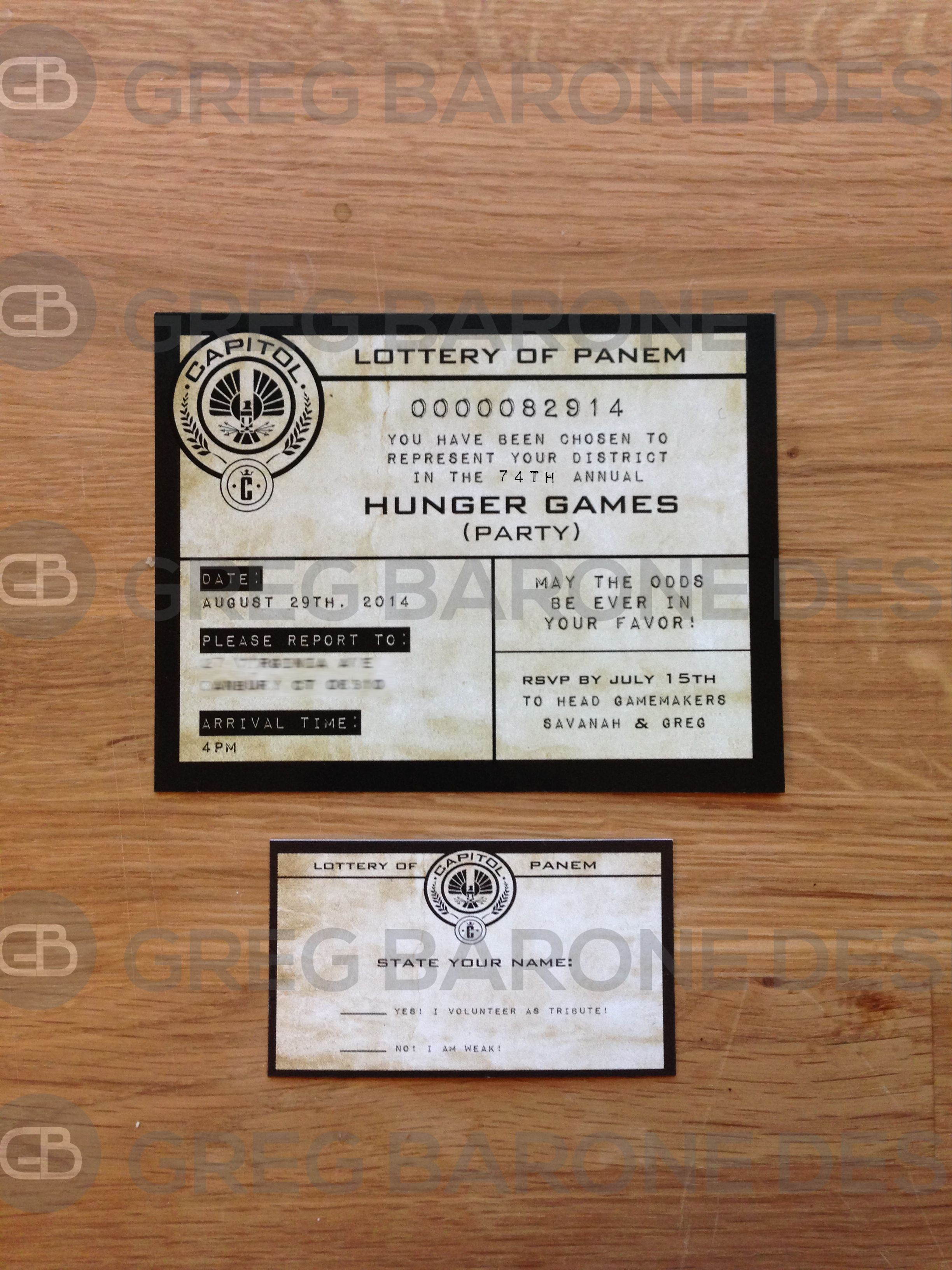 Hunger Games Party Invitation Rsvp Card Greg Barone Design