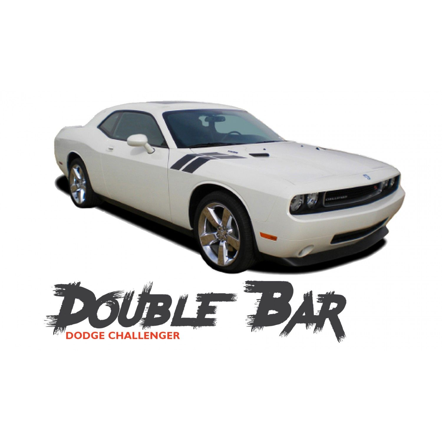 Dodge challenger double bar hood fender stripes hash slash vinyl graphic decals stripes 2010 2011 2012