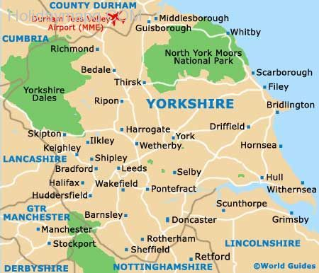 awesome Map of yorkshire england | Holidaymapq | Yorkshire