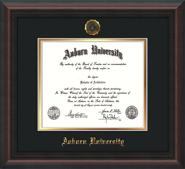 Auburn University (2002 to Present) Diploma Frame : W/Seal - Black on Gold Mat All