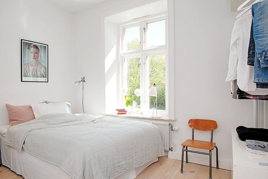 wonderful white bedroom with open closet small window swedish