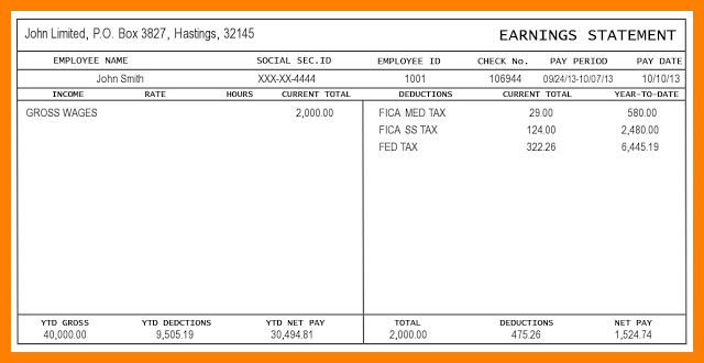 Employee Pay Stub Template Excel Pay Stub Templates In 2018
