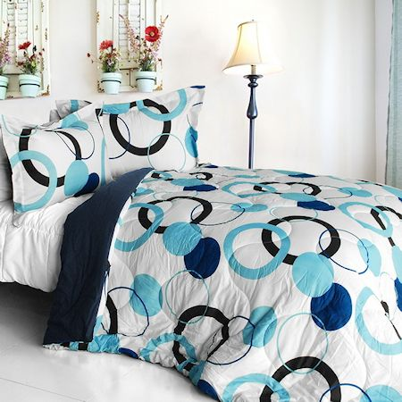 Blue black white geo dot teen girl bedding modern Blue teenage bedroom