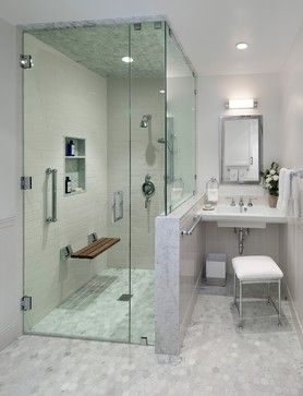 Midcentury Modern Ada Accessible Guest House Transitional Bathroom Door Dow Accessible Bathroom Design Handicap Bathroom Design Transitional Bathroom Design