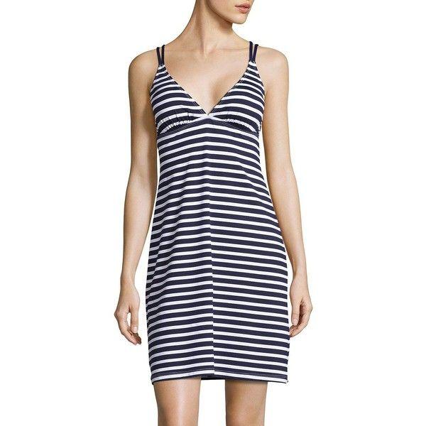 Tommy Bahama Brenton Striped Spa Dress ($118) ❤ liked on Polyvore featuring dresses, navy, navy blue v neck dress, blue dress, navy dress, tall dresses and v neck dress