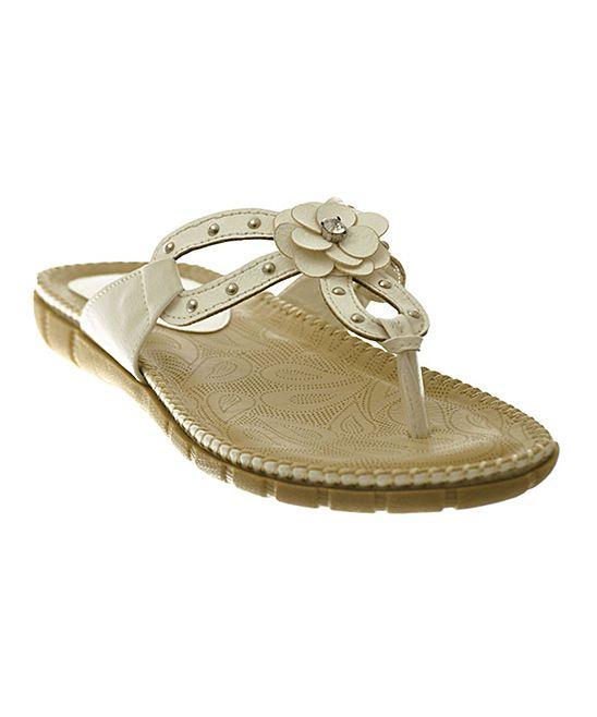 White Gem Flower Sandal
