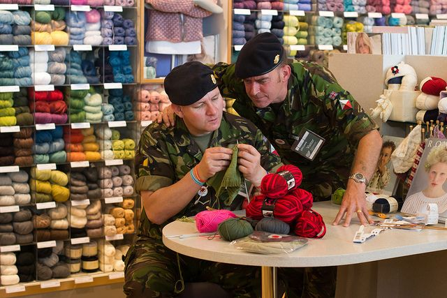 great photo from Knitting in Public Day, UK, 2011, via Sam Bytheway on Flickr