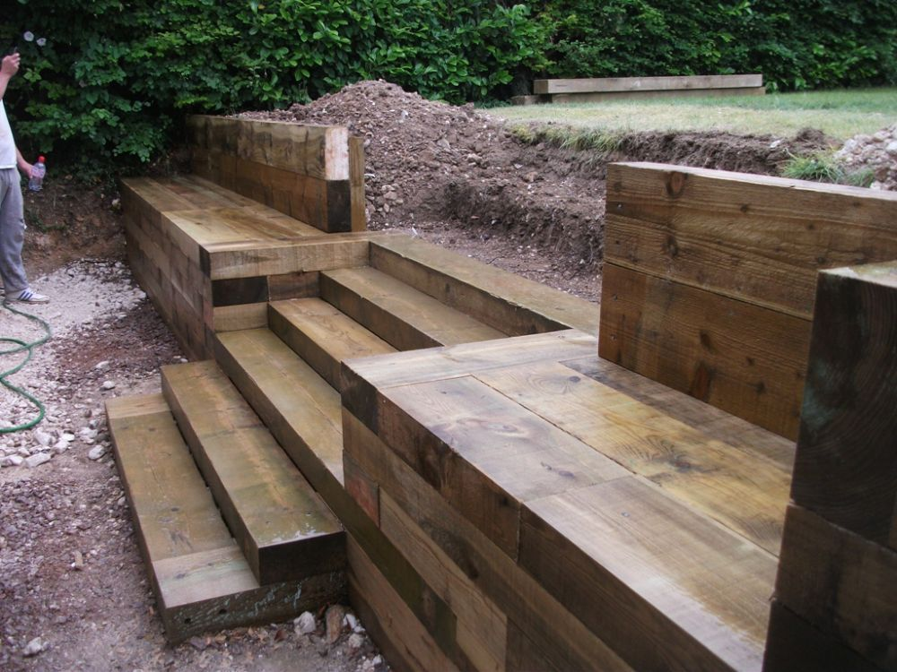 Steps walls patio with new railway sleepers back yard for Piedras para patios exteriores