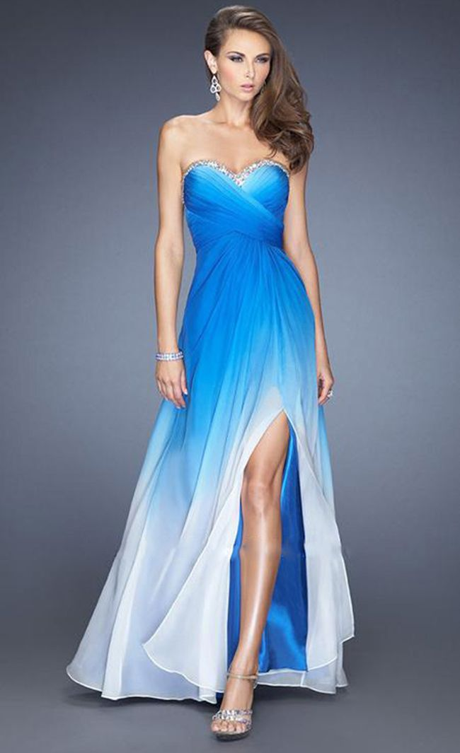 prom dress with slit in front and rhinestones