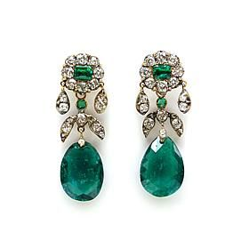 Pair of 19th century emerald drop and diamond cluster earrings, c.1880