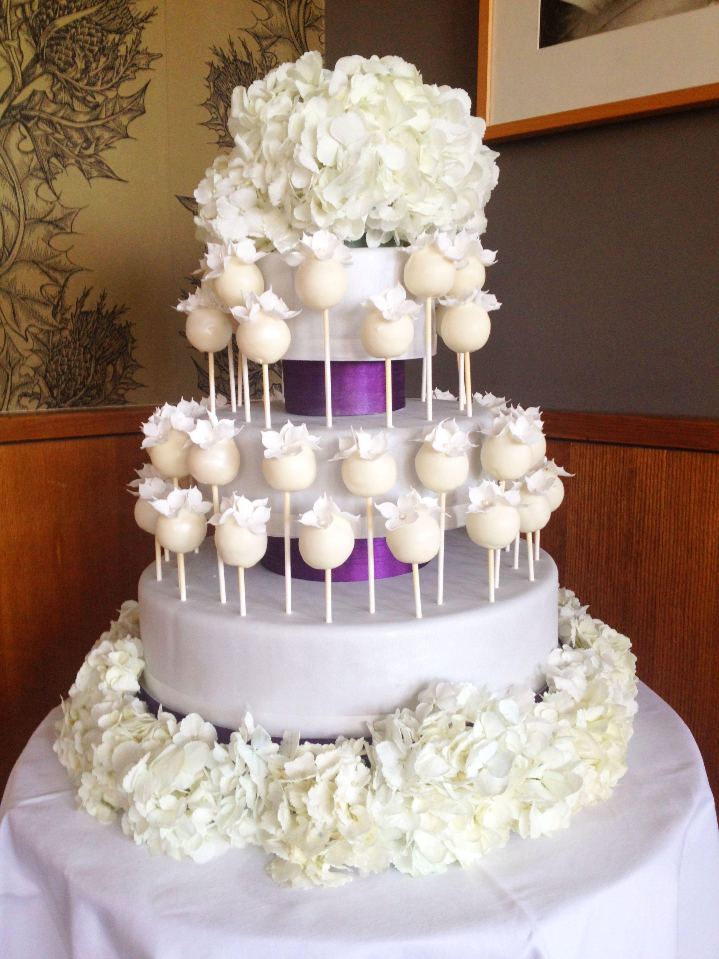 Cake pop wedding cake with sugar and fresh hydrangeas