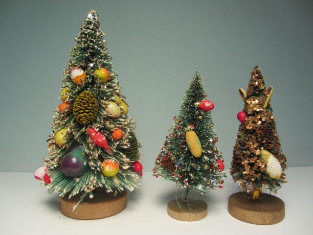 3 Fruit Decorated Vintage Bottle Brush Christmas Trees Bottle Brush Christmas Trees Bottle Brush Trees Christmas Decorations