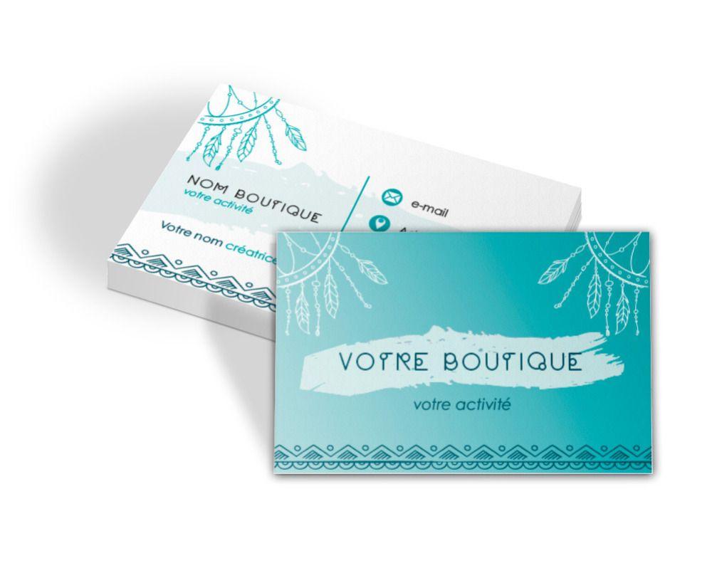 Carte De Visite Boho Attrape Reves Turquoise Carte De Visite