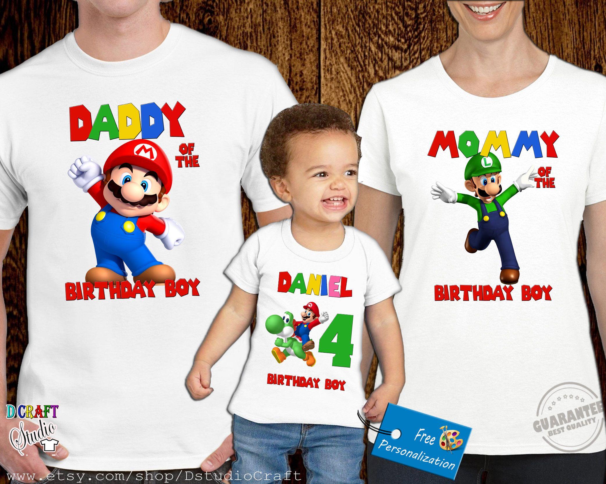 Super Smash Bros TShirt CUSTOM Personalize Birthday gift favor Mario Brothers