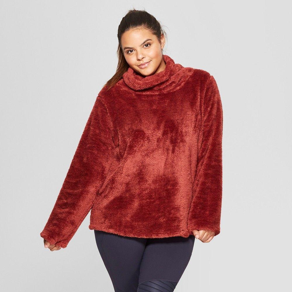Women's Plus Sherpa Pullover Title JoyLab 2X, Red Oak