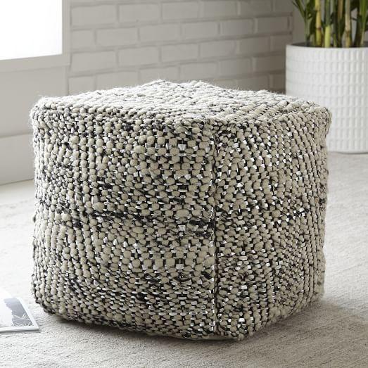 Herringbone Metallic Wool Pouf   west elm