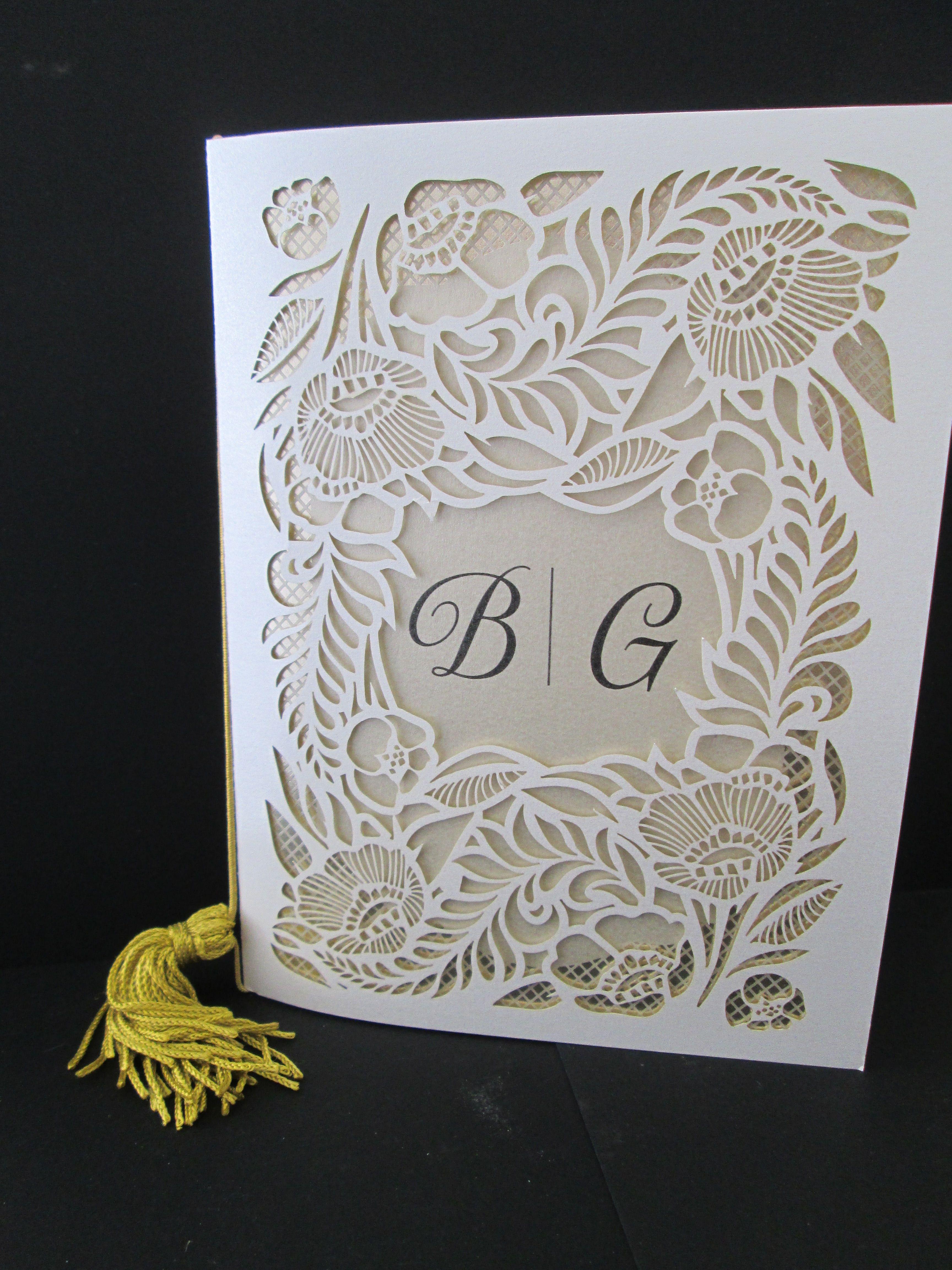 Booklet Style Wedding Invitation Front side. Laser Cut Designs ...