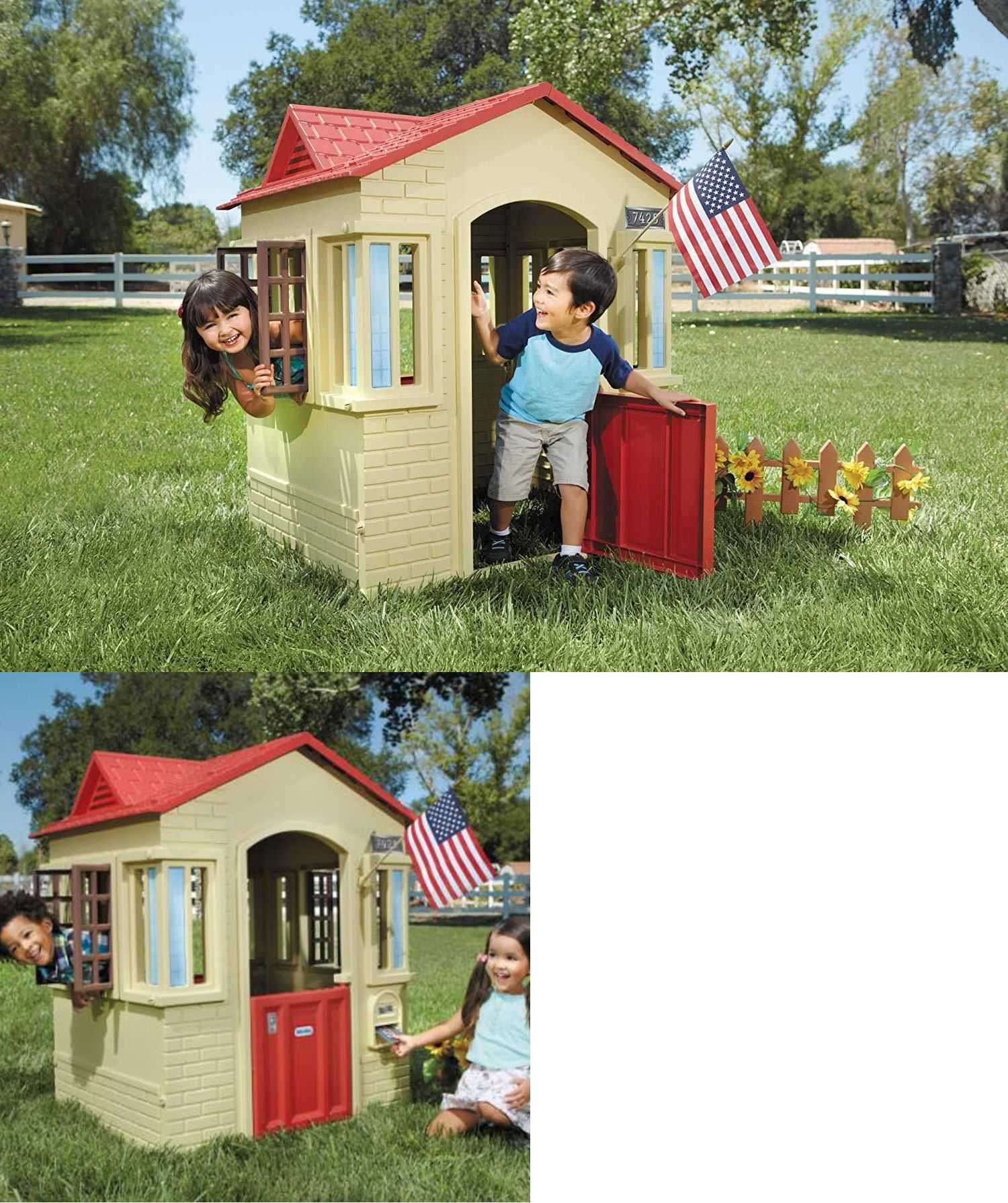 Permanent Playhouses 145995 Little Tikes Cape Cottage Playhouse Tan Indoor Outdoor It Now Only 114 88 On Ebay