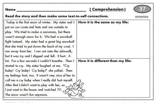 100 Days Of Homework Text To Self Connection 2nd Grade Homework Inference Worksheets 2nd Grade Worksheet for 2nd grade reading