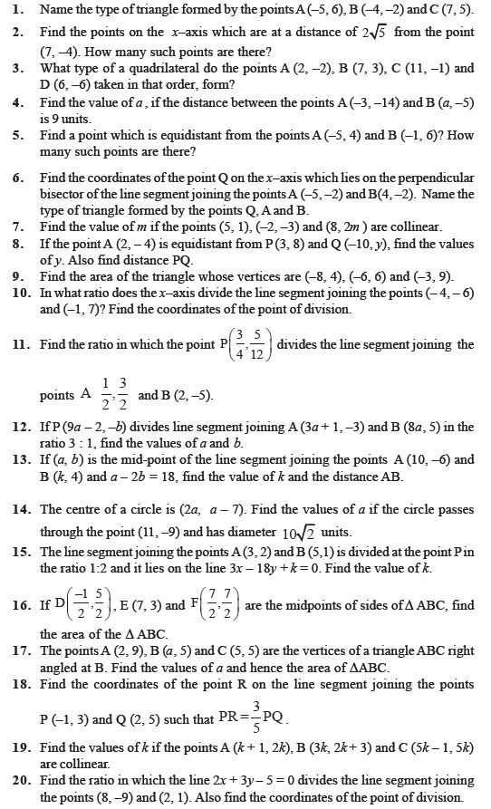 Class 10 Important Questions For Maths Coordinate Geometry