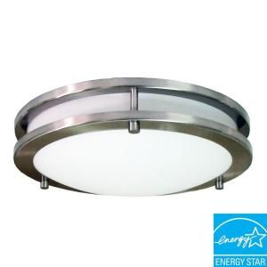 Hampton Bay Flaxmere Round Flush Mount Brushed Nickel Finish With Frosted Glass Diffuser 6105 At T Flush Mount Ceiling Lights Glass Diffuser Led Flush Mount