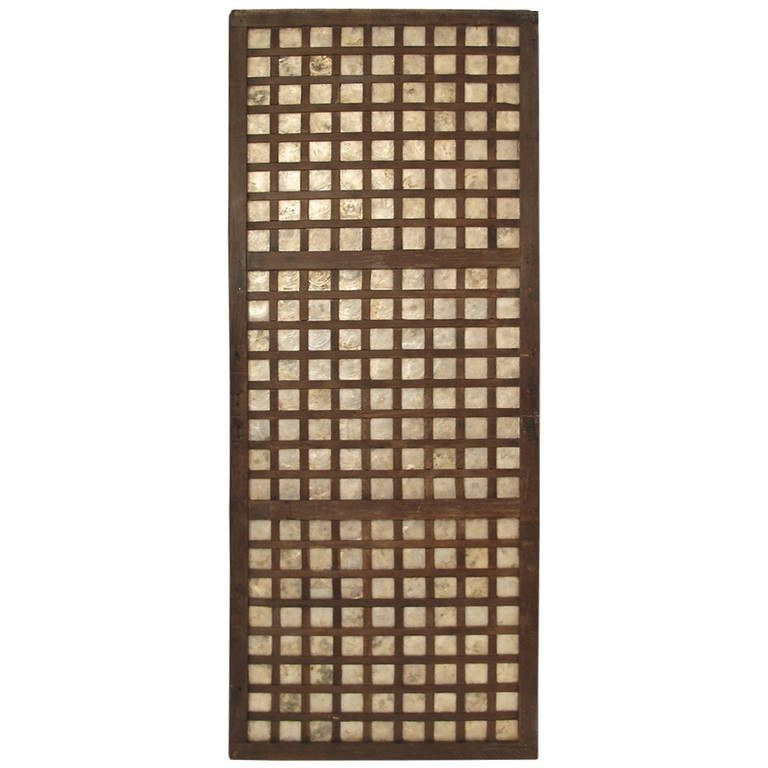 Architectural Teak and Inlay Shell Door