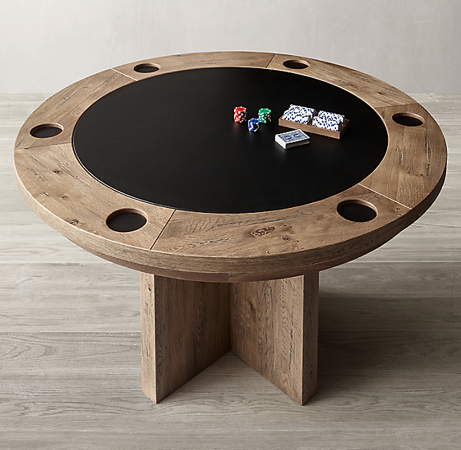 Brunswick Oak Leather Game Table In 2020 Modern Game Tables Table Games Poker Table Diy