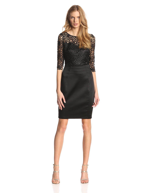 Patra dress three-quarter-sleeve lace gown