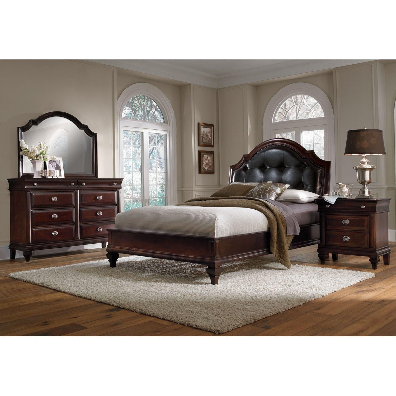 Manhattan 6Piece Queen Upholstered Bedroom Set Cherry