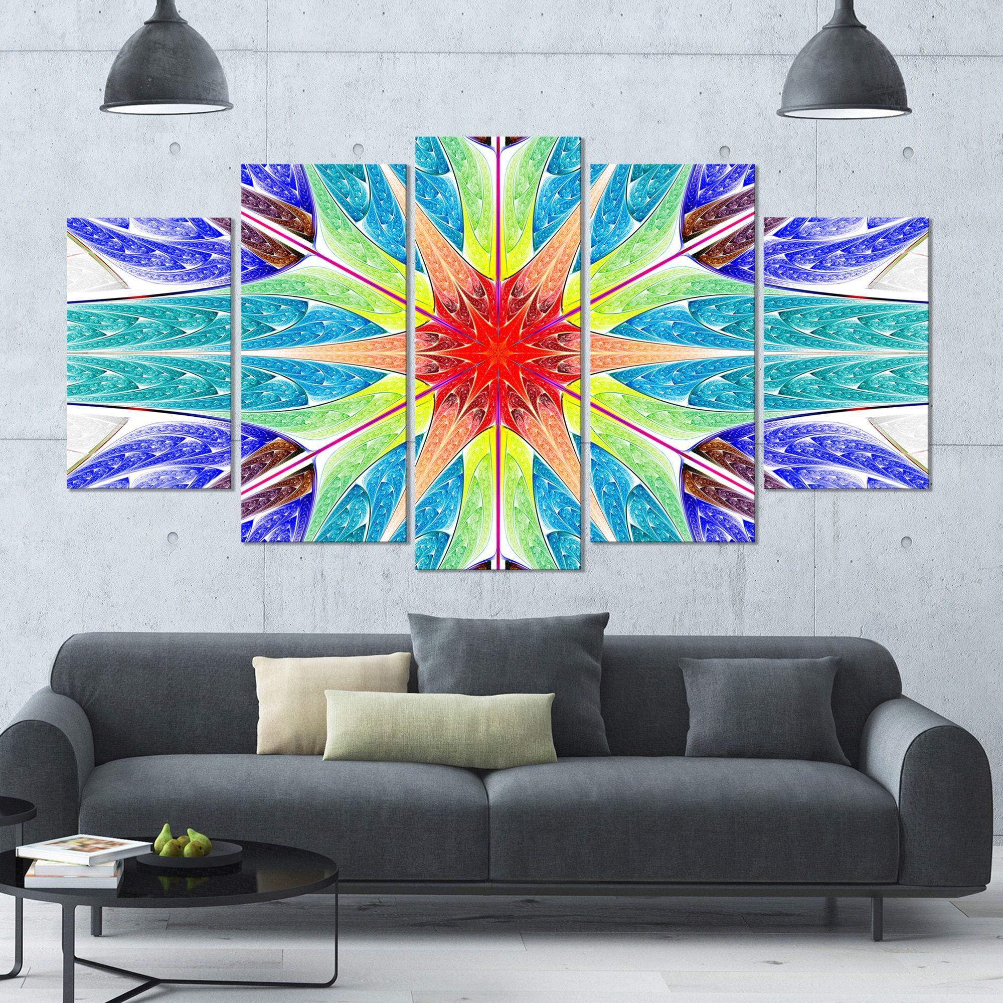 Designart 'Extraordinary Fractal Design' Glossy Canvas Art Print - 60x32 5 Panels