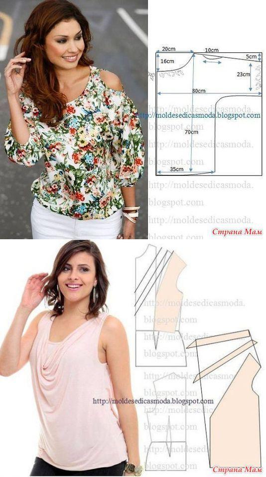 мода шите БЛУЗКИ ТОПЫ | blusa moldes. | Pinterest