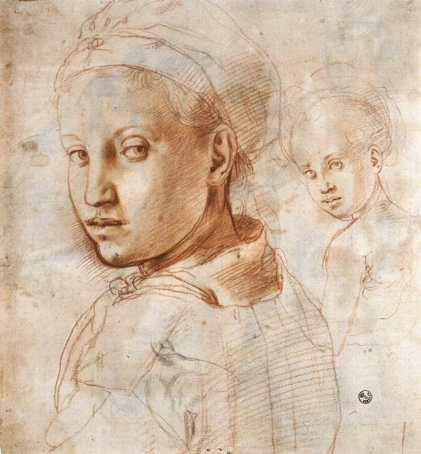 Jacopo Pontormo: Study of a Youth Turning His Head 1528-30, Red and black chalk, 296 x 273 mm, Galleria degli Uffizi, Florence