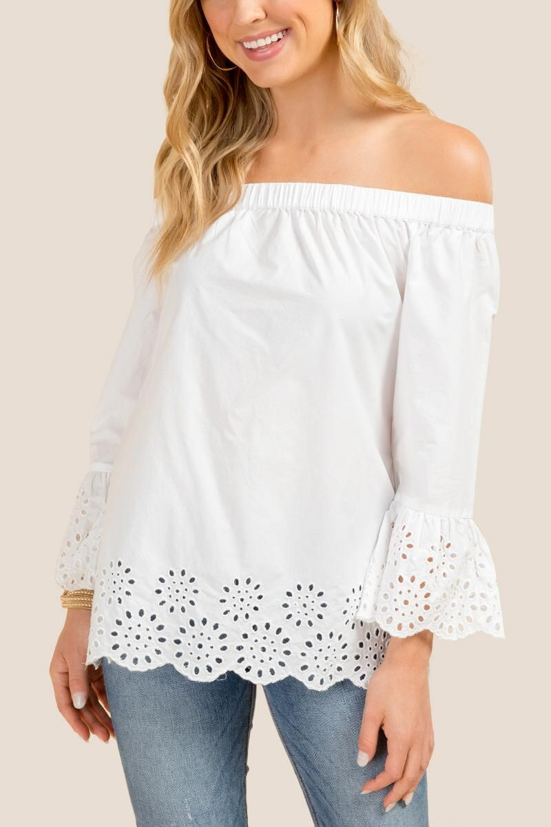 74c803135dc906 Nevaeh Off The Shoulder Eyelet Blouse-White | My Closet: All the ...
