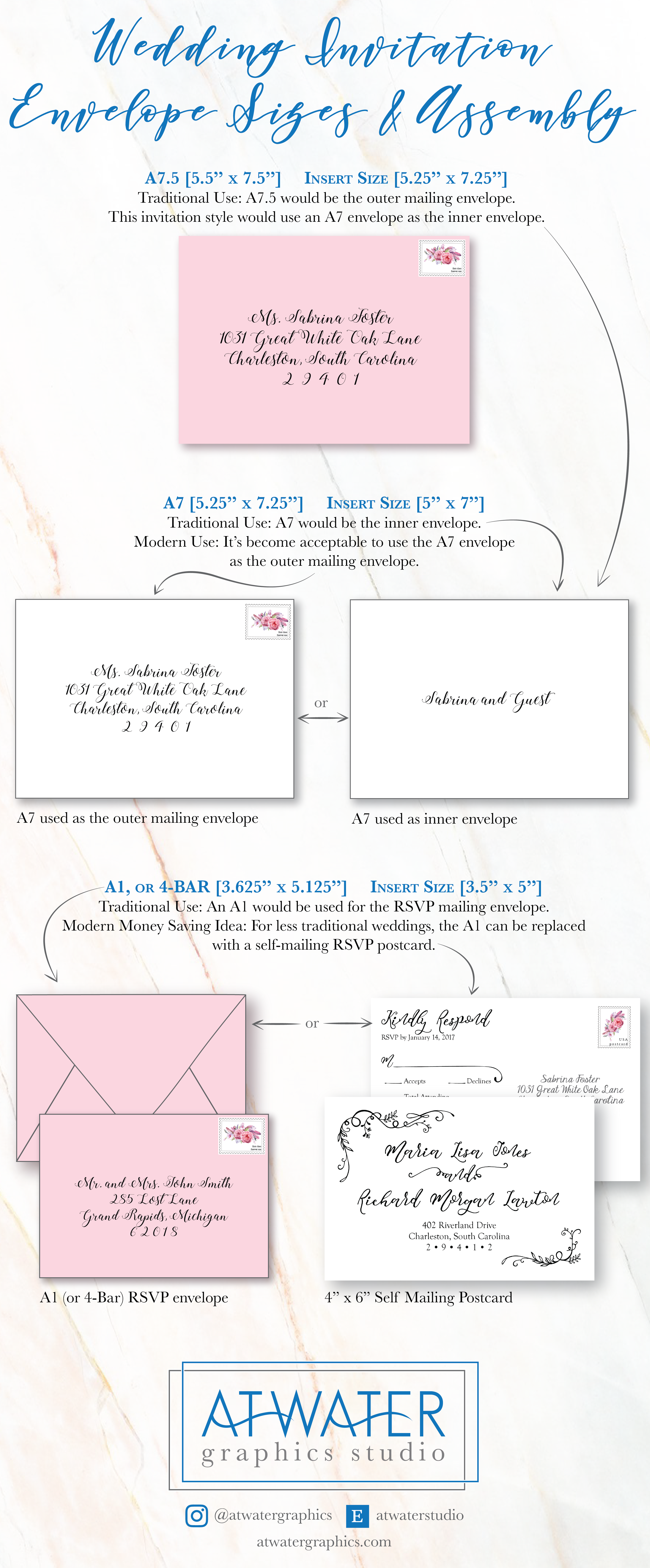 tips on wedding invitation envelope sizes and the inserts that match