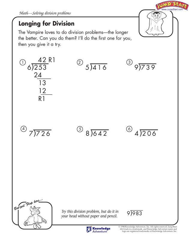 Worksheet Long Division Worksheets 4th Grade equation math and remainders on pinterest longing for division free worksheet kids using this it allows children