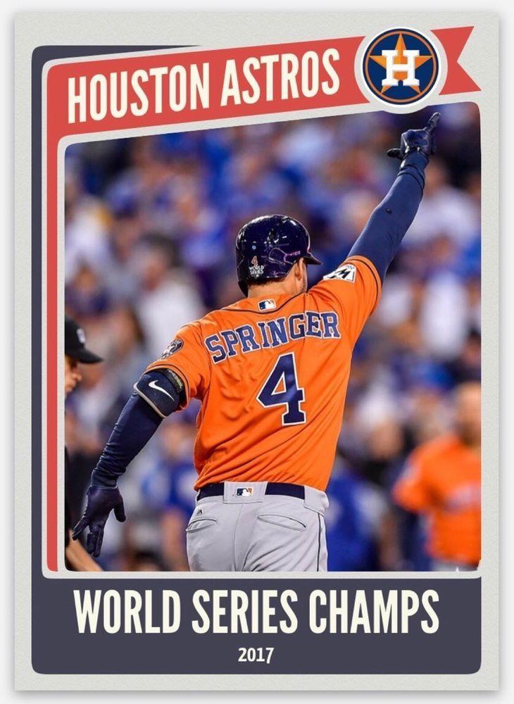 2017 Houston Astros World Series Champions 1st Baseball Card George Springer Astros World Series Sports Baseball