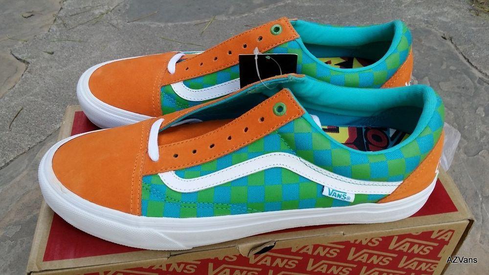 Vans X Golf Wang Old Skool Pro Checkers Orange Blue Green Men S Size 11 5 New Clothing Shoes Accessories Men S Shoe Vans Tyler The Creator Vans Golf Wang