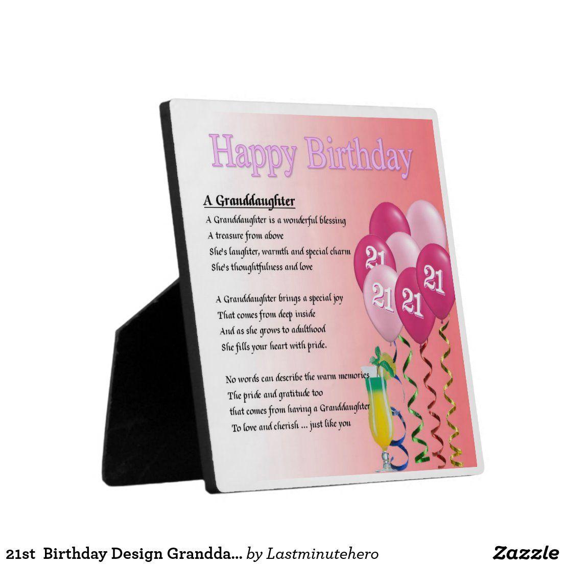 21st Birthday Design Granddaughter Poem Plaque Zazzle.co