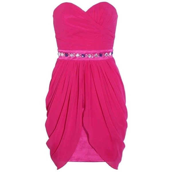 Lipsy Bandeau Drape Hem Dress ❤ liked on Polyvore featuring dresses ...