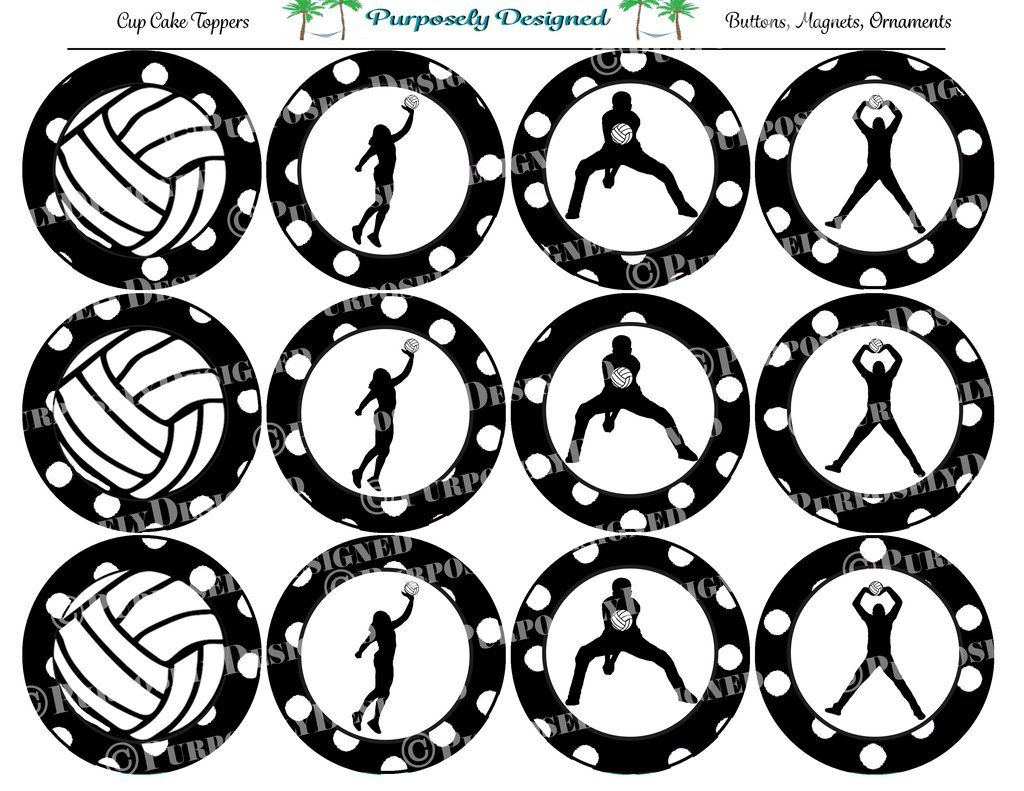 Volleyball Silhouette Printable Party Tags Cupcake Toppers