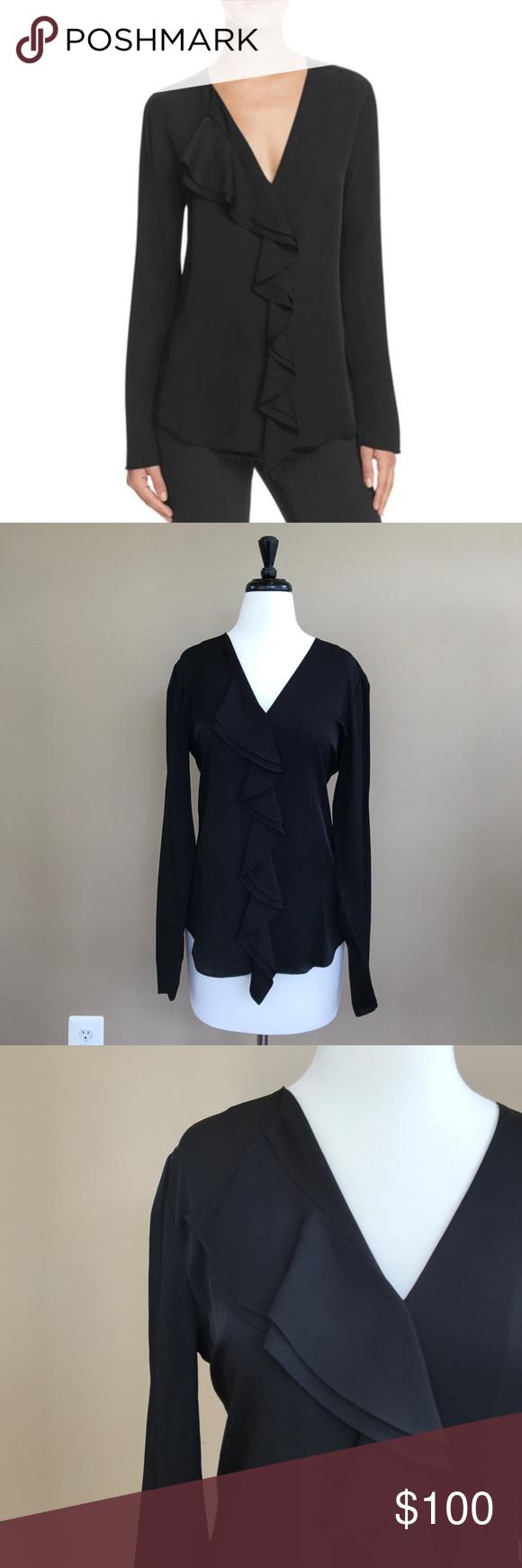 Theory u jastrid ruffle silk black long sleeve s ruffles silk and