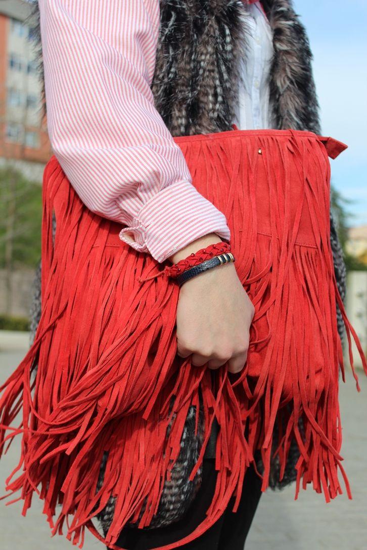 fringe red bag