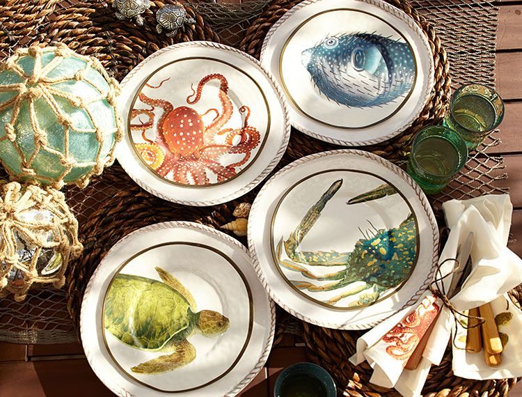 Playa Sea Critter Melamine Salad Plates Mixed Set of 4 & Get summer colorful.   Colors of Summer   Pinterest   Coastal ...
