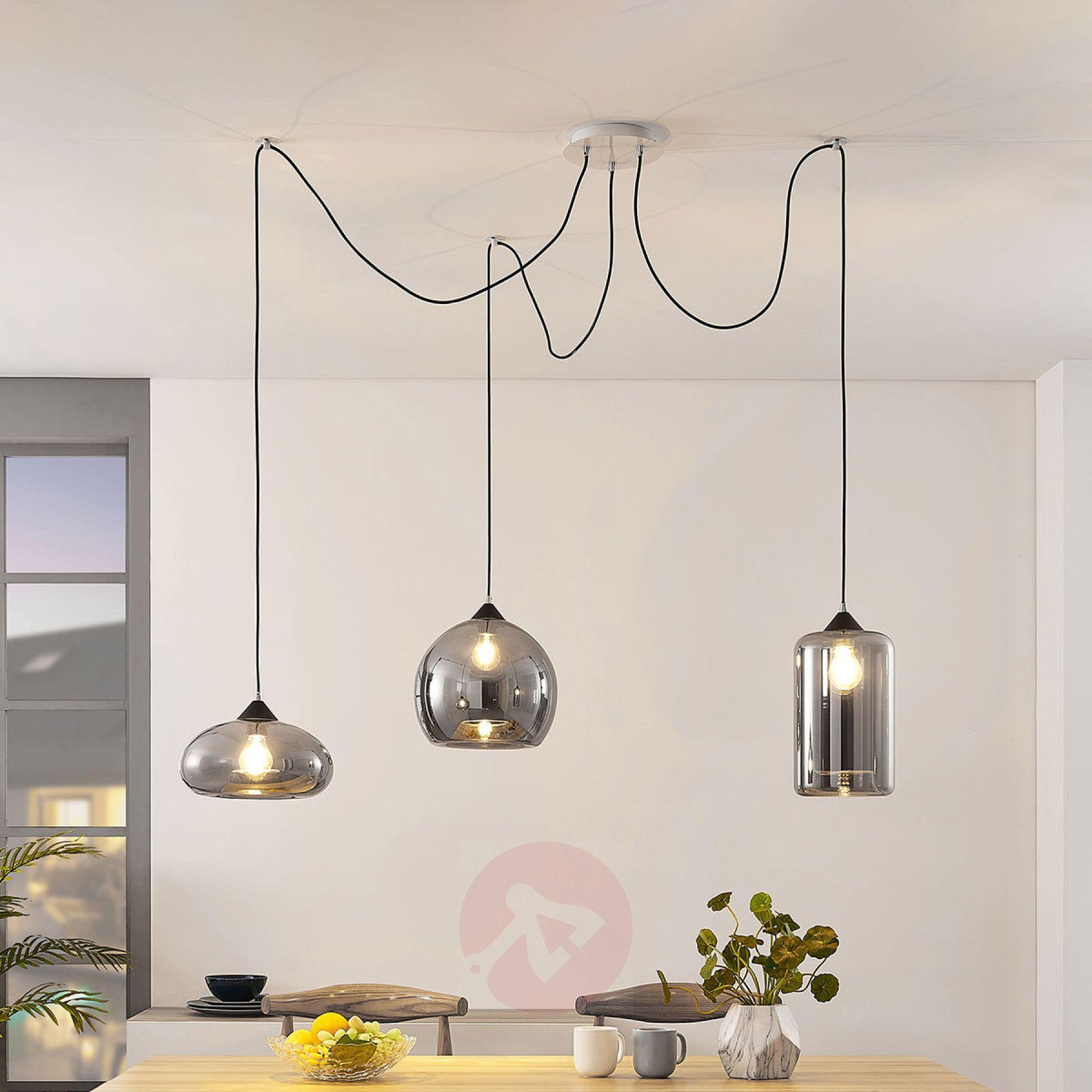 Hanglamp Raquel 3 Lamps Rookglazen Kappen 9624322 02 Hanglamp Plafondlamp Vintage Lampen