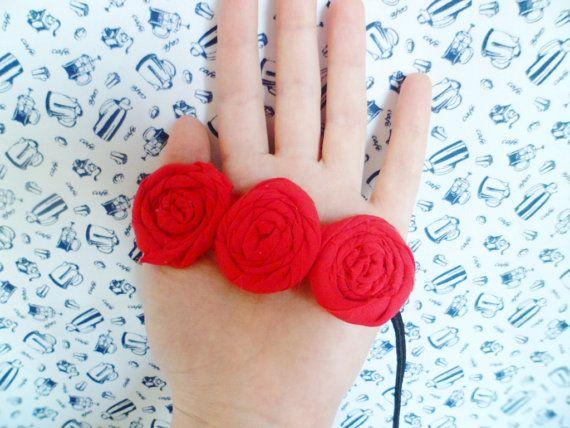 Red Flower Headband for Spring