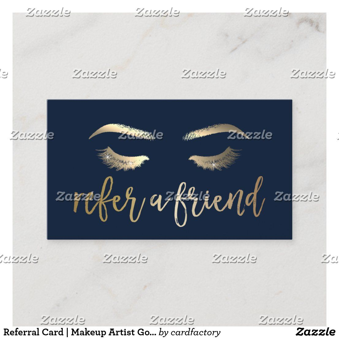 Referral Card Makeup Artist Gold Typography Navy