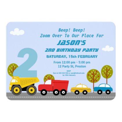 Boys Transport 2nd Birthday Party Invitation | Zazzle.com