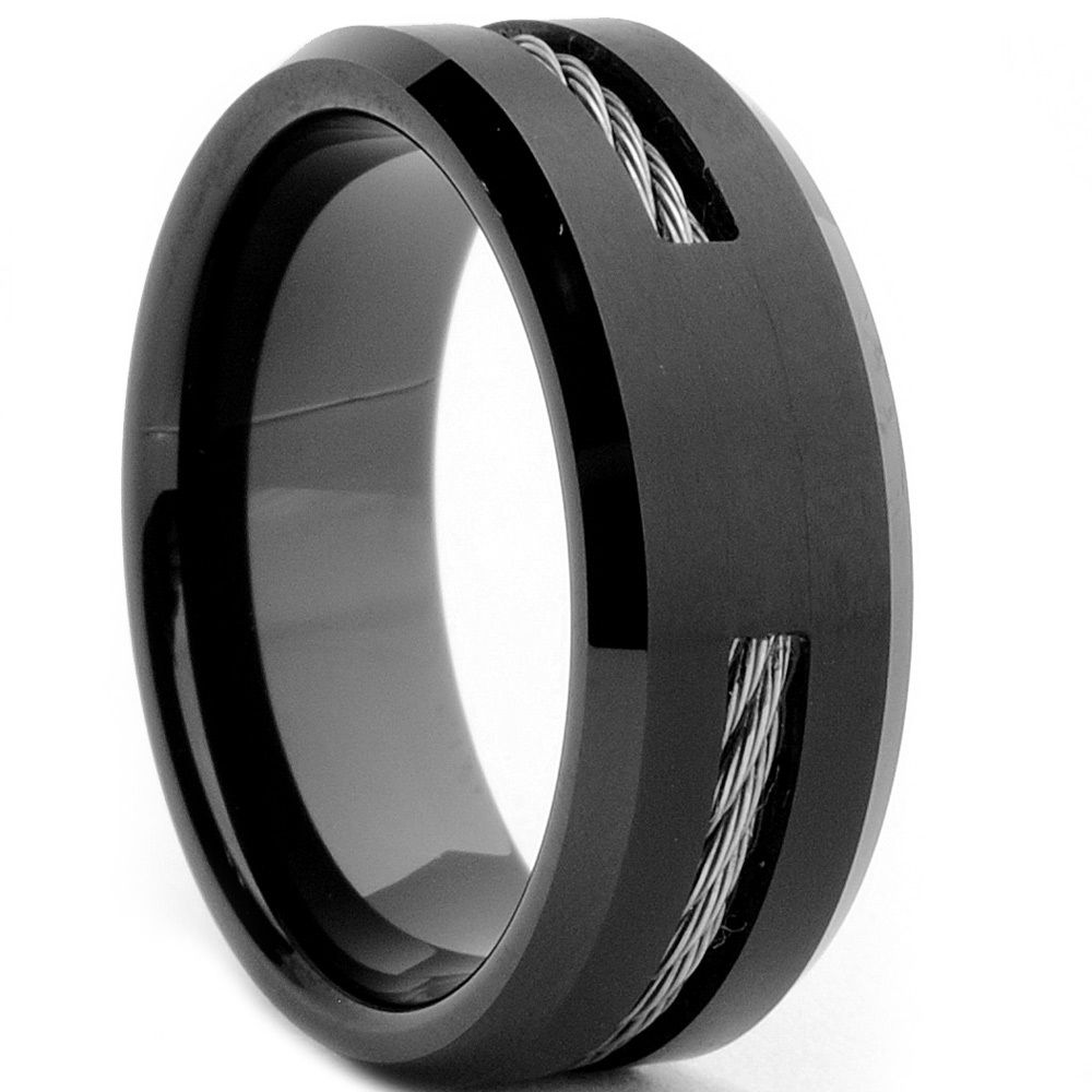 tungsten carbide black-plated steel cable inlay ring | overstock