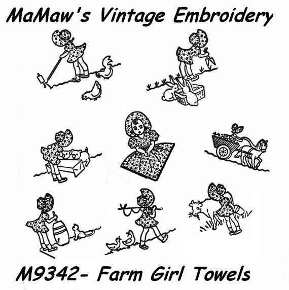M206 Vintage Farm Girl Tea Towels heat transfer embroidery pattern ...
